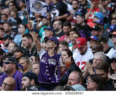 LONDON, ENGLAND - SEPTEMBER 24:  A Ravens fan at the NFL match between The Jacksonville Jaguars and The Baltimore Ravens at Wembley Stadium on September 24, 2017 in London, United Kingdom.