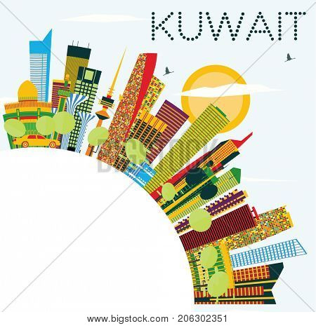Kuwait Skyline with Color Buildings, Blue Sky and Copy Space. Business Travel and Tourism Concept with Modern Architecture. Image for Presentation Banner Placard and Web.