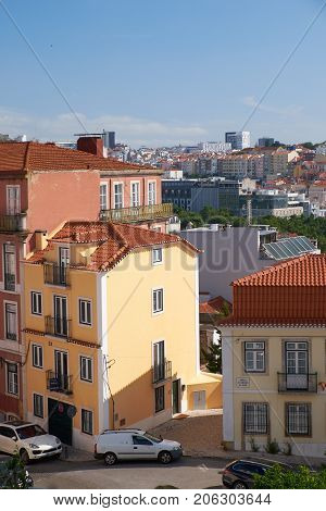 The Residential Houses In The Bairro Alto District. Lisbon. Portugal