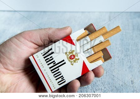 MOSCOW - MAY 21, 2017: Pack of Marlboro Cigarettes, made by Philip Morris. Marlboro is the largest selling brand of cigarettes in the world.