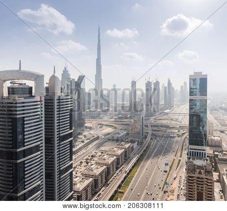 Big Highway, Emirates Grand Hotel, Burj Khalifa skyscraper in Dubai, UAE