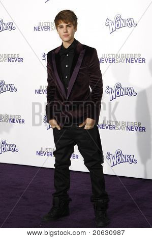 LOS ANGELES - FEB 8:  Justin Bieber arriving at the Los Angeles premiere of 'Justin Bieber: Never Say Never' at the Nokia Theater L.A.Live in Los Angeles, California. on February 8, 2011.