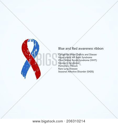 Awareness Blue and Red Ribbon. Painted. Congenital Heart Defects and Disease, Hypo plastic left heart Syndrome, Olser Weber Rendu, Isolated icon. Watercolor painted background.