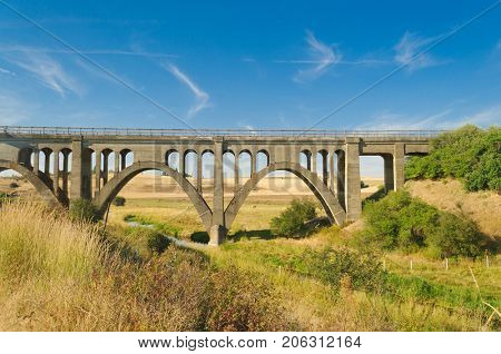 Old concrete trestle style bridge in the Palouse area of Washington