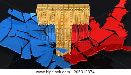 A Gold Letter T Of Lies Shattering The United States Of America 3D Illustration