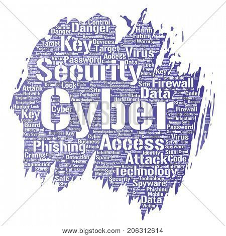 Conceptual cyber security online access technology paint brush word cloud isolated background. Collage of phishing, key virus, data attack, crime, firewall password, harm, spam protection
