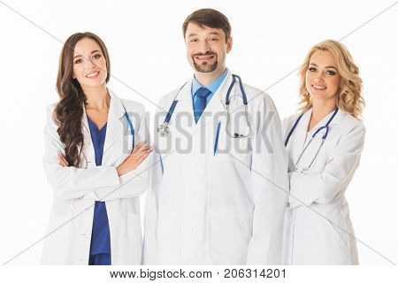 Medical doctors group isolated on white background