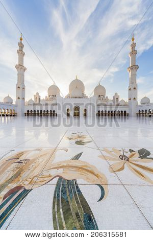 ABU DHABI, UAE - JAN 18, 2017: Beautiful Sheikh Zayed Mosque is one of six largest mosques in world, mosque was officially opened in 2007