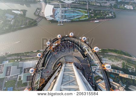 GUANGZHOU, CHINA - AUG 21, 2015: People on observation deck of Canton Tower, Haixinsha Island