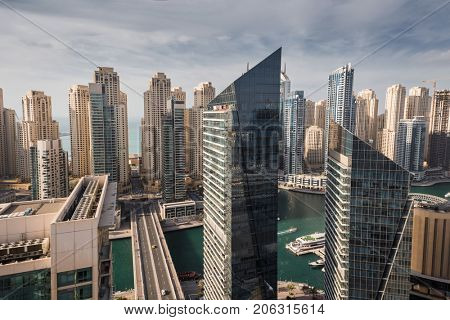 DUBAI, UAE - JAN 13, 2017: Silverene Tower RMJM in Dubai Marina area, Designed by RMJM, this complex offers 35 floors in Tower A and 26 floors in Tower B