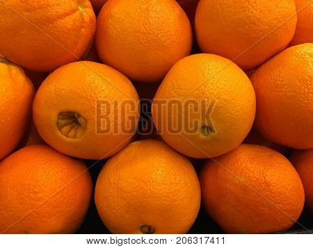 Beautiful Shot of freshly Picked Navel Oranges