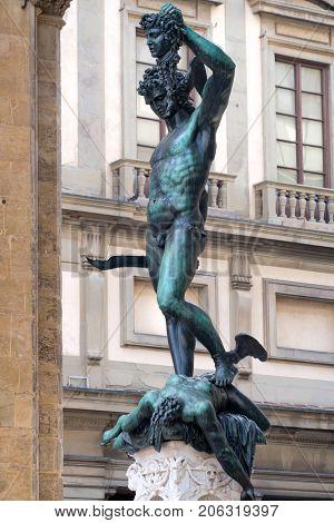 Bronze statue of Perseus killing Medusa by Benvenuto Cellini in Piazza della Signoria, Florence