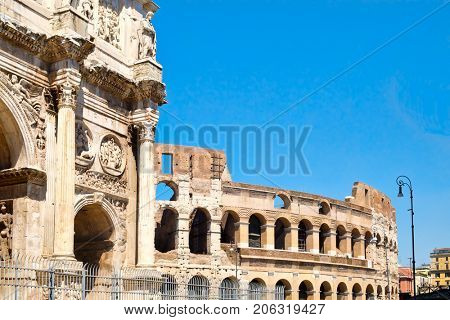 Ruins of the Colosseum and the Arch of Constantine in central Rome