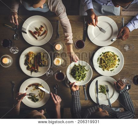 Friends Gathering Eating Food Together Happiness
