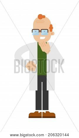 Scientist in lab white coat icon. Scientific research in laboratory vector illustration in flat design.
