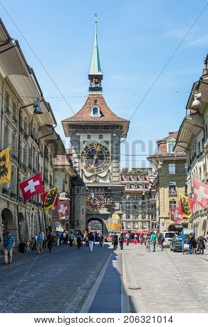 Bern Switzerland - May 26 2016: Astronomical clock on the medieval clock tower in Kramgasse street in old city center of Bern Switzerland.