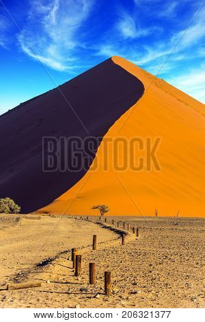 Sunset in the desert. Orange, purple and yellow dunes of the Namib desert. The concept of extreme and exotic tourism. Namibia, South Africa