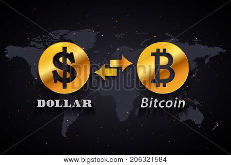American Dollar to Bitcoin currency exchange infographic template on world map background