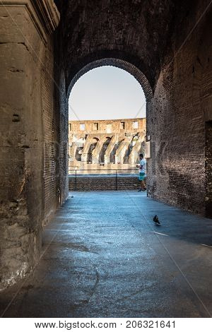 Rome Italy - August 21 2016: Interior view of The Colosseum or Coliseum also known as the Flavian Amphitheatre. It is an oval amphitheatre in the centre of the city of Rome.
