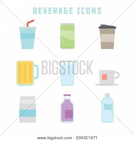 Beverage icons in flat style for your restaurant projects or gastronomy publications.