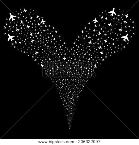 Air Plane explosive stream. Vector illustration style is flat white iconic air plane symbols on a black background. Object fountain combined from random pictograms.