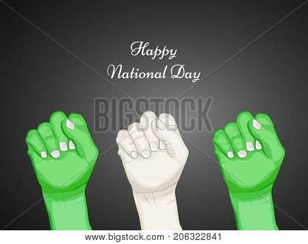 illustration of hands with Happy National Day text on the occasion of Nigeria National Day