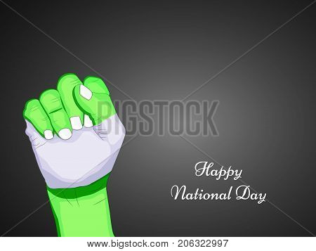 illustration of hand in Nigeria flag background with Happy National Day text on the occasion of Nigeria National Day