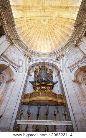 The Pipe Baroque Organ In  Apse Of Santa Engracia Church (now National Pantheon). Lisbon. Portugal