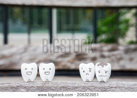 health concept with healthy teeth and decayed teeth