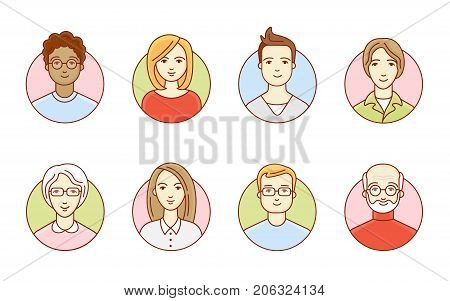Set of round avatars. Women and men. Young and old people. Different nations and races. Vector linear illustration