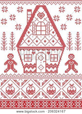 Nordic style and inspired by Scandinavian cross stitch craft Christmas pattern in red, white including heart, gingerbread house, gingerbread man, Christmas pudding, snowflakes, snow, Christmas tree