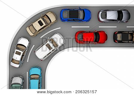 turn the traffic road 90 degrees top view. 3d rendering