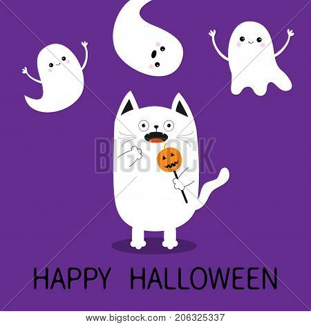 Happy Halloween. Spooky frightened cat holding pumpkin face on stick. Three flying ghosts hands up Boo. Funny Cute cartoon baby character. Flat design. Violet background. Vector