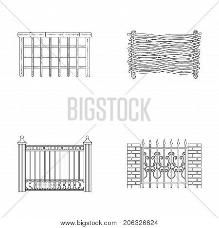 A fence of metal and bricks, wooden palisade. A different fence set collection icons in outline style vector symbol stock illustration .
