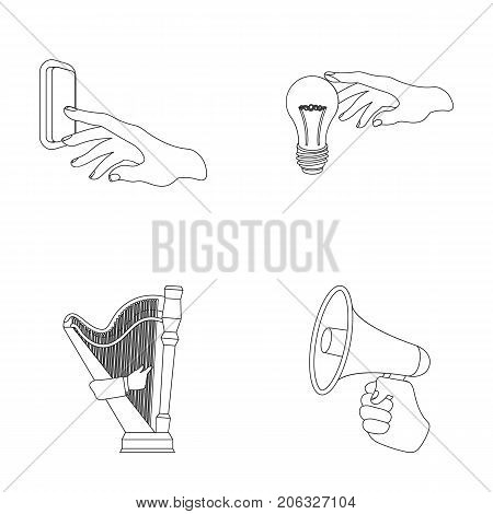 Electric switch button, incandescent lamp and other  icon in outline style. harp playing, Megaphone in hand icons in set collection.