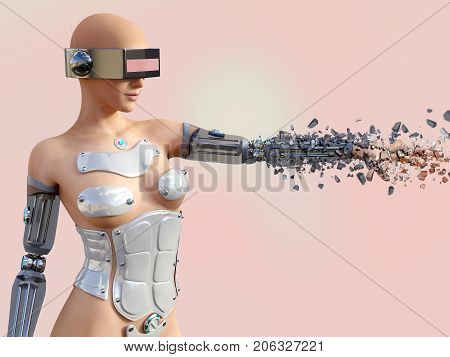3D rendering of a sexy female android robot. Her hand and arm are starting to break apart. Pink background.