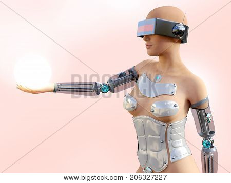 3D rendering of a sexy female android robot holding a glowing sphere of energy or light in her hand against a pink background.