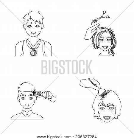 Athlete with a medal, a haircut with an electric typewriter and other  icon in outline style. Women's haircut, hair coloring in the hairdresser's icons in set collection.