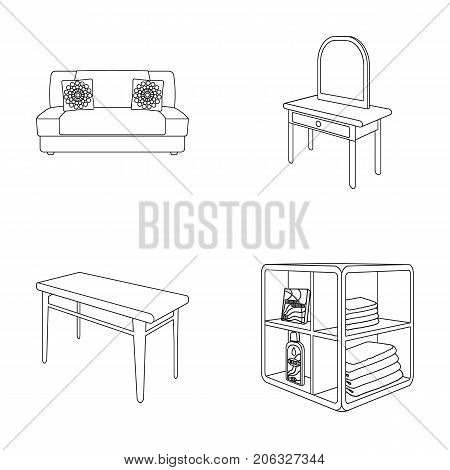 Soft sofa, toilet make-up table, dining table, shelving for laundry and detergent. Furniture and interior set collection icons in outline style isometric vector symbol stock illustration .