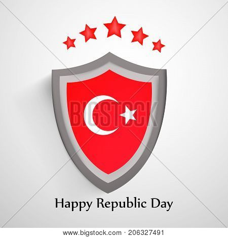 illustration of shield in Turkey flag background and stars with Happy Republic Day text on the occasion of Republic Day of Turkey