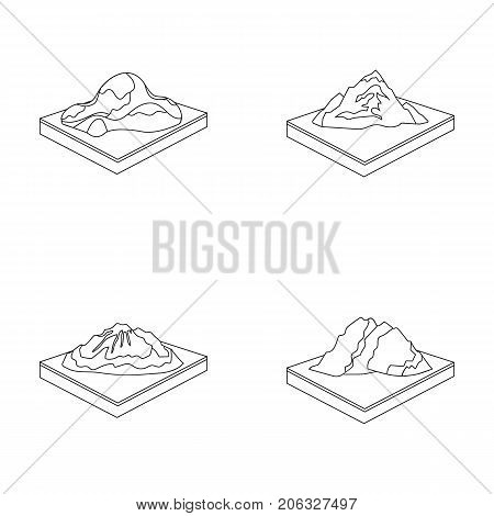 Mountains, rocks and landscape. Relief and mountains set collection icons in outline style isometric vector symbol stock illustration .