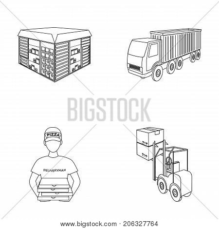 Truck, courier for delivery of pizza, forklift, storage room. Logistics and delivery set collection icons in outline style isometric vector symbol stock illustration .