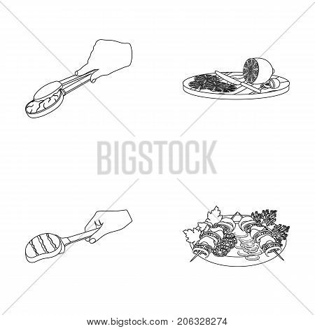 Tongs with steak, fried meat on a scoop, slicing lemon and olives, shish kebab on a plate with vegetables. Food and Cooking set collection icons in outline style vector symbol stock illustration .
