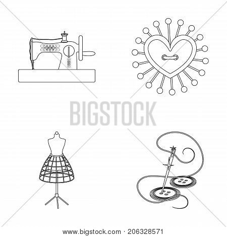 Needle and thread, sewing machine, pincushion, dummy for clothing. Sewing and equipment set collection icons in outline style vector symbol stock illustration .