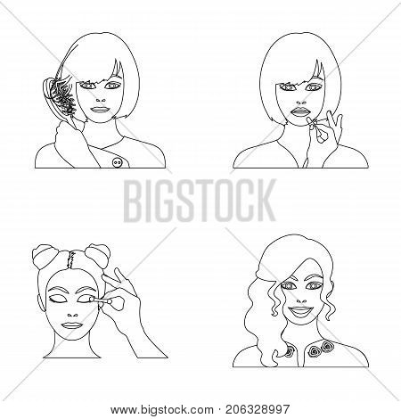 Hairdresser, cosmetic, salon, and other  icon in outline style.Means, hygiene, care icons in set collection.