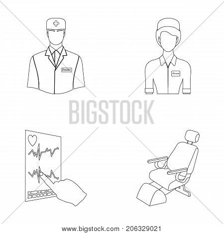 The attending physician, the nurse, the cardiogram of the heart, the dental chair. Medicineset collection icons in outline style vector symbol stock illustration .