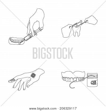 Anesthetic injection, dental instrument, hand manipulation, tooth cleaning and other  icon in outline style. bactericidal plaster, medicine icons in set collection.