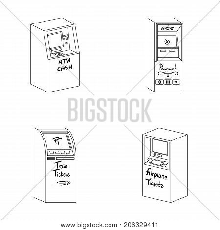 Cash machine for cash, terminal for payment, ticket machine. Terminals set collection icons in outline style isometric vector symbol stock illustration .