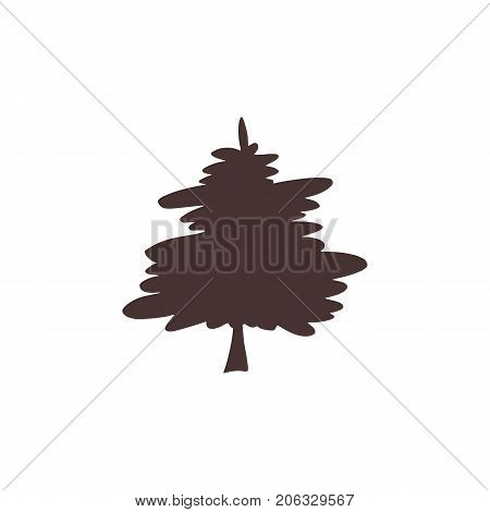 Vector hand drawn isolated element, Christmas tree. Simple modern design, scandinavian style. For holiday cards, decorations, templates. Part of a large winter collection.