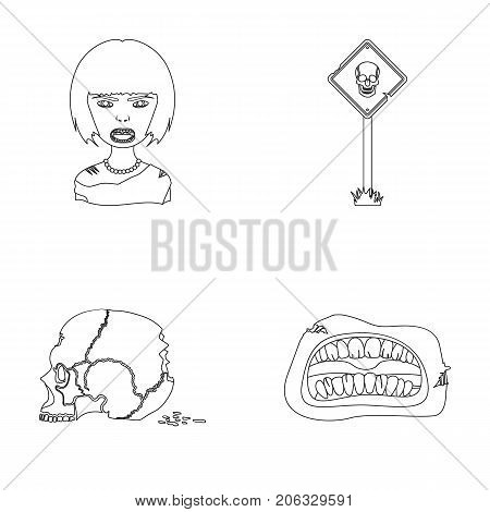 Apocalypse, Halloween, blood, and other  icon in outline style., Mouth, teeth, skin icons in set collection.